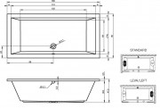 Схема акриловой ванны RIHO Lusso 180.